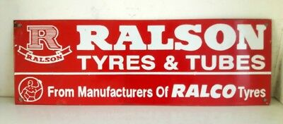 Vintage Old Rare Collectible Ralson Tyre And Tube Ad Porcelain Enamel Sign Board