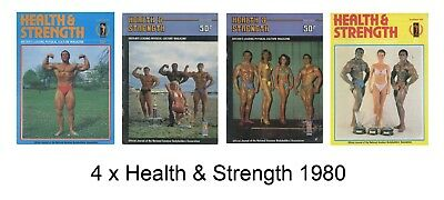 4 x Vintage Health & Strength Bodybuilding Magazines from 1980