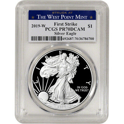 2019-W American Silver Eagle Proof PCGS PR70 DCAM First Strike West Point Label