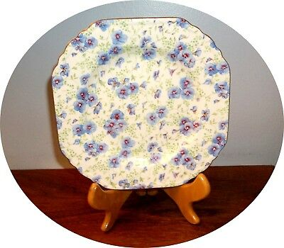 "Fancy Pansy~  Chintz ~ 7 1/2"" Square Plate ~ Lord Nelson England ! !"