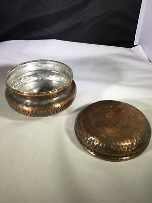 Vintage hand made copper with tin wash urn with lid. Hammered and etched.