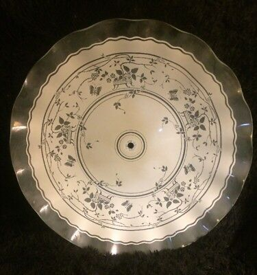 Vintage Antique Victorian Deco Frosted Etched Scalloped Ceiling Glass Lamp Shade