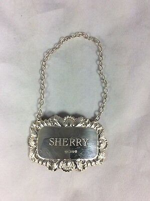 Hm Sterling Solid Silver Sherry Decanter Label By Dj Silver, London C1973