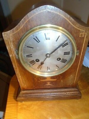 Antique Inlaid Oak Bracket Or Mantle Clock (Georgian Style) P.h.s.