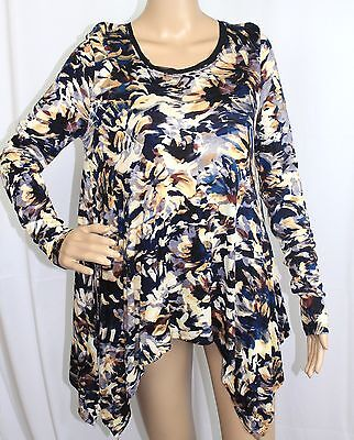 772424d8b721fb Simply Vera 82 Women Size S  44 Blouse Hi Low Long Sleeve Printed Floral  Knitted