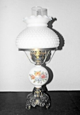 Gone With The Wind Vintage 3-Way Classy Milk-Glass Floral Themed Hurricane Lamp