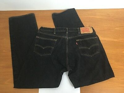 Vintage 90s Levi's 501 XX Black Full Button Fly Jeans Red Tab 35x33 35W 33L vtg