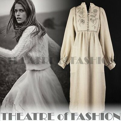DRESS SMOCK 60s 70s VINTAGE WEDDING CELTIC VICTORIAN BOHO ANNA ROOSE GODDESS