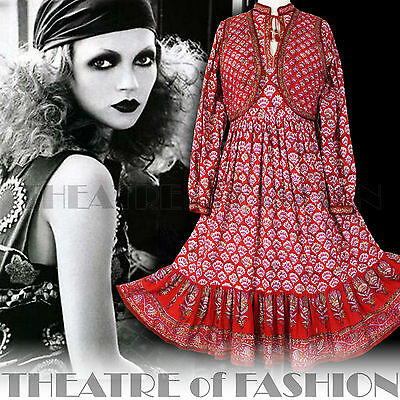 DRESS INDIAN JACKET WAISTCOAT 70s VINTAGE 8 10 12 14 16 18 HIPPY BOHO WEDDING