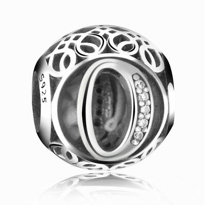 New Authentic Pandora Silver Charm Bead Vintage Letter O Clear CZ S925 Ale
