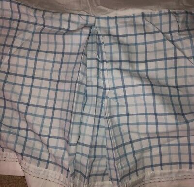 Pottery Barn Kids Crib Bed Skirt Blue And White Plaid Embroidered.