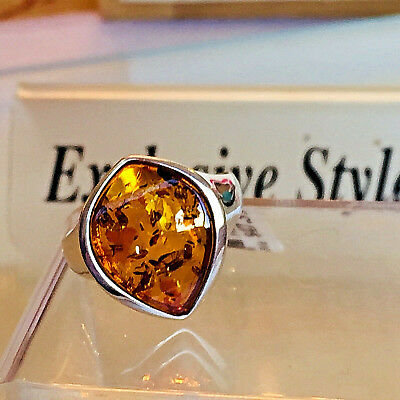 Genuine Russian Baltic Amber Ring Size 8,0 Butterscotch Egg Yolk Vintage Polish