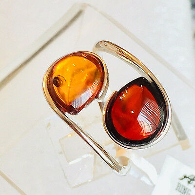 Genuine Russian Baltic Amber Ring Size 9,0 Butterscotch Egg Yolk Vintage Polish