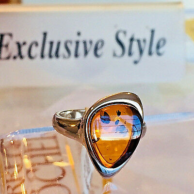 Genuine Russian Baltic Amber Ring Size 6,0 Vintage Butterscotch Egg Yolk Polish