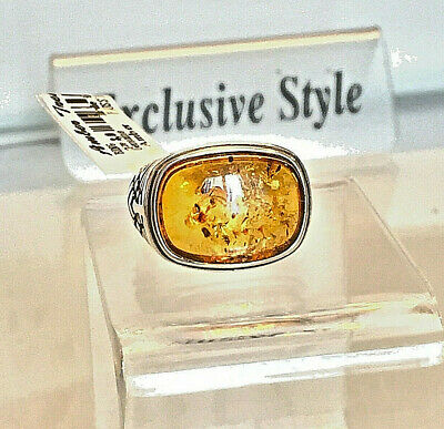 Genuine Russian Baltic Amber Ring Size 8,0 Vintage Butterscotch Egg Yolk Polish