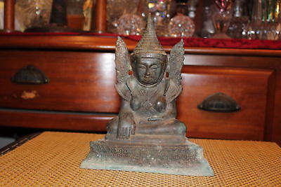 Antique Chinese Asian Bronze Metal Buddhist Religious Spiritual Statue Wings