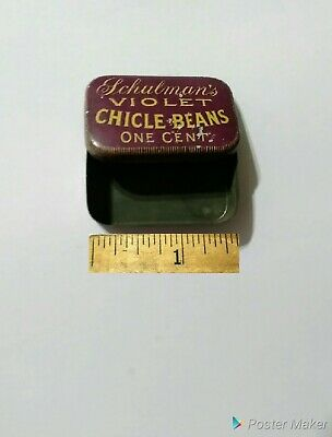 """Vintage Schulmans Violet Chicle Beans One Cent Gum Candy Tin 2 1/2 """" Th-A2"""