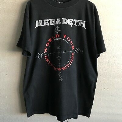 987c6df67742 MEGADETH CRYPTIC WRITINGS world tour 1997 1998 Vintage Preowned Shirt AS IS