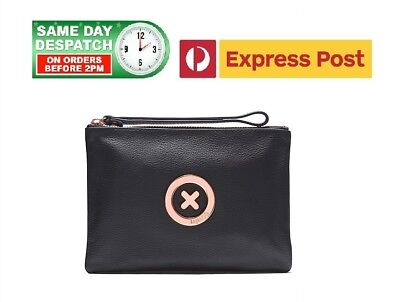 MIMCO SUPERNATURAL Medium Pouch BLACK ROSE GOLD XO Logo BNWT - FREE EXPRESS POST