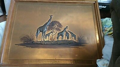 original vintage Dennis Thompson Copper work giraffe silhouette