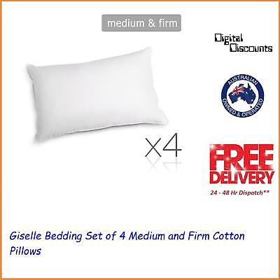 Giselle Bedding Set of 4 Medium and Firm Cotton Pillows