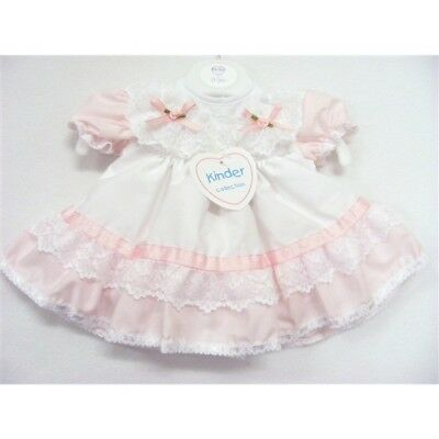 Kinder Baby Girls Traditional Romany Spanish Style Frilly Pink & White Dress