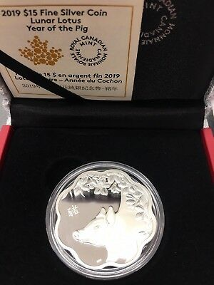 2019 - Lunar Lotus - Year of the Pig - $15 Pure Silver Proof Coin - Canada