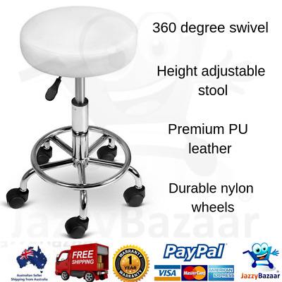 Round PU Leather Swivel Salon Stool White Height Adjustable Seat Hairdressing