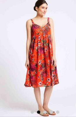 Ex Marks & Spencer Per Una Orange ~Floral Print Swing Midi Dress - Size 8 - 20