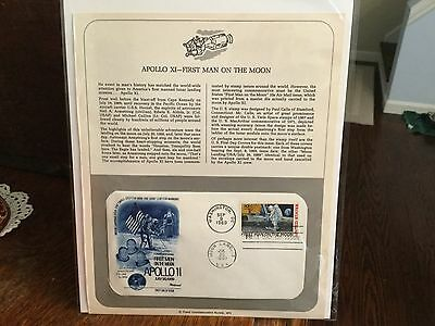1969 10c APOLLO 11 FLEETWOOD FDC FIRST DAY COVER W/INSERT COMMEMORATIVE PAGE