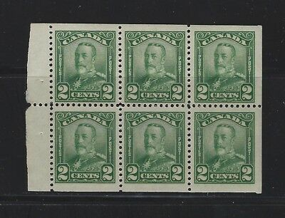 CANADA - #150a - 2c KING GEORGE V SCROLL ISSUE MINT BOOKLET PANE (1928) MNH