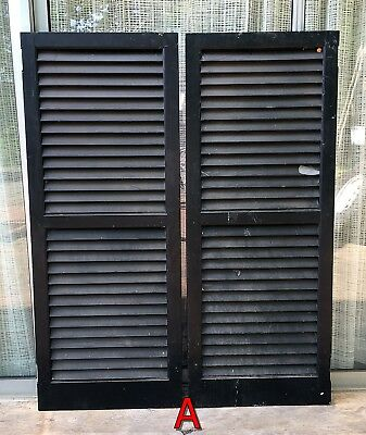 Pair Wood House Shutters Louvered Vintage Painted Old farmhouse decor 51x20 *A*