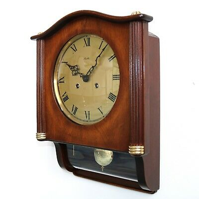 GERMAN MAUTHE Vintage Wall Clock 3 Bar Chime VERY RARE Model HIGH GLOSS! UNIQUE