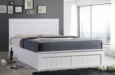 Monaco White Solid Wood Ottoman Storage Bed Frame 4FT 4FT6 Double 5FT King Size
