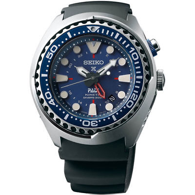 New Seiko Prospex Kinetic GMT Stainless Steel PADI Diver's Men's Watch SUN065