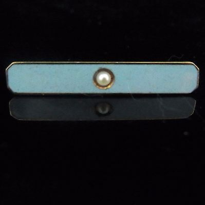 Antique Brooch 14k Yellow Gold Seed Pearl Blue Enamel Pin Vintage Estate Jewelry