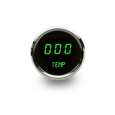 """2 1/16"""" Digital Water Temperature Gauge Green LEDs Chrome Bezel Made In The USA"""