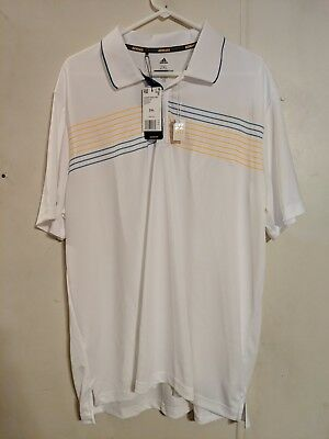 adidas Golf Mens Chest Print Polo White with Blue and Orange Stripes Size 2XL