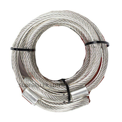 New 2m x 1cm Security DOUBLE LOOP CABLE Strong Braided Steel Bike Chain Lock UK✔
