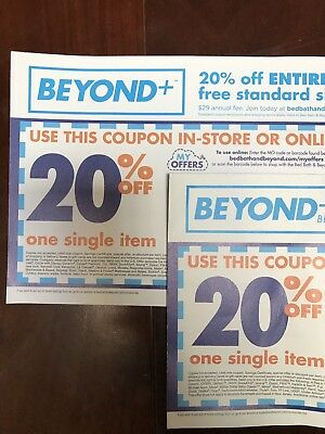 Lot of (2) Bed Bath & Beyond Coupon - 20% Off One Single Item In-Store or Online