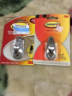 3M Command Damage-Free Hanging Metal Hook + 2 Small Strips - Holds 1 lb (2 Pa
