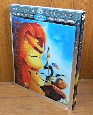 The Lion King 3D / 2D w/ Lenticular Slip Cover (Blu Ray / DVD, 4-Disc, 2011)