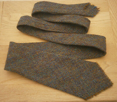 Vintage Lochcarron Harris Tweed Wool Tie Green & Blue Mix Goodwood Fishing