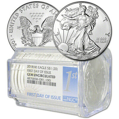 Roll of 20 - 2018-(W) American Silver Eagle NGC Gem Uncirculated First Day Issue