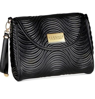 f78a274307b4 VERSACE Parfums black faux leather pouch case bag clutch wristlet handbag  NEW