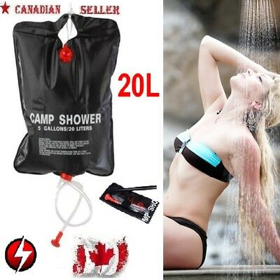 20L Portable Shower Heated Bag Solar Water Heater Outdoor Bath Camping Camp 5Gal