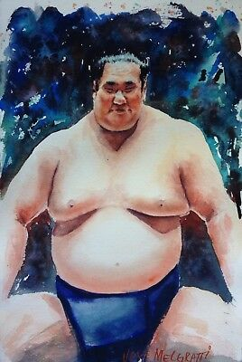 "The Art Of Sumo  Watercolor Original Painting, 7.1:2""x 11"" NOT A PRINT"