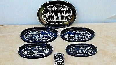 SET OF 5 EARLY 20c CHINESE TRAYS&COVERED BOX W/ MOP INLAYED SCHOLARS AND VILLAGE
