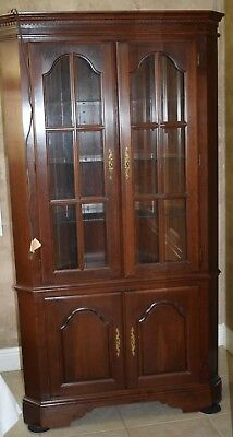 Lighted Corner Curio Cabinet Wood Display Hutch Storage Shelves Unit