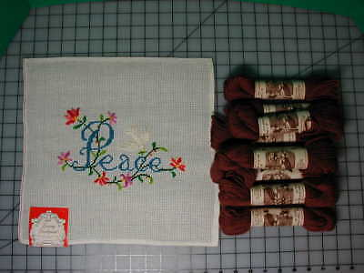 "Dritz Needlepoint Preworked Canvas ""Peace"" w/ dove + 10 skeins virgin wool 40 yd"